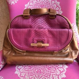 Authentic JIMMY CHOO Pink Python Large Bowler Bag
